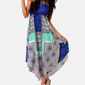 Roxy Floating By Strapless Blue Print Dress
